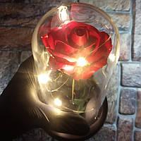 Подарок девушке! РОЗА в стеклянной колбе +Подсветка (ночник) Красная (настоящие фото!)