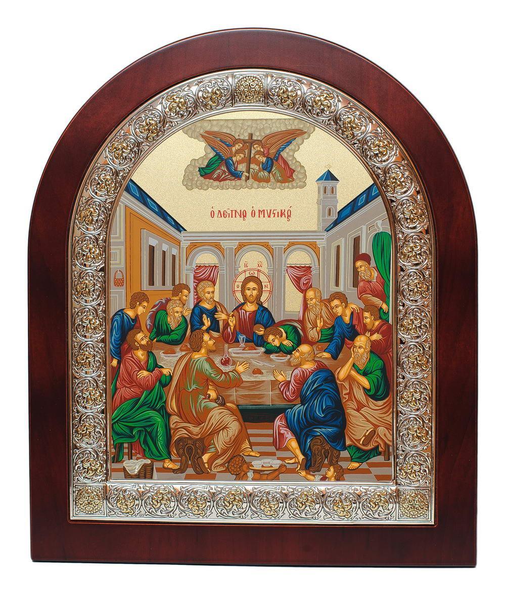 Икона Тайная Вечеря 26х31см арочной формы в серебряной рамке с позолотой