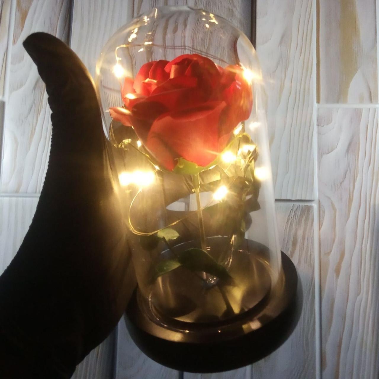 Роза в колбе с Led подсветкой красная, ночник, романтический подарок (Реальные фото!)