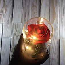 Роза в колбе с Led подсветкой красная, ночник, романтический подарок (Реальные фото!), фото 3