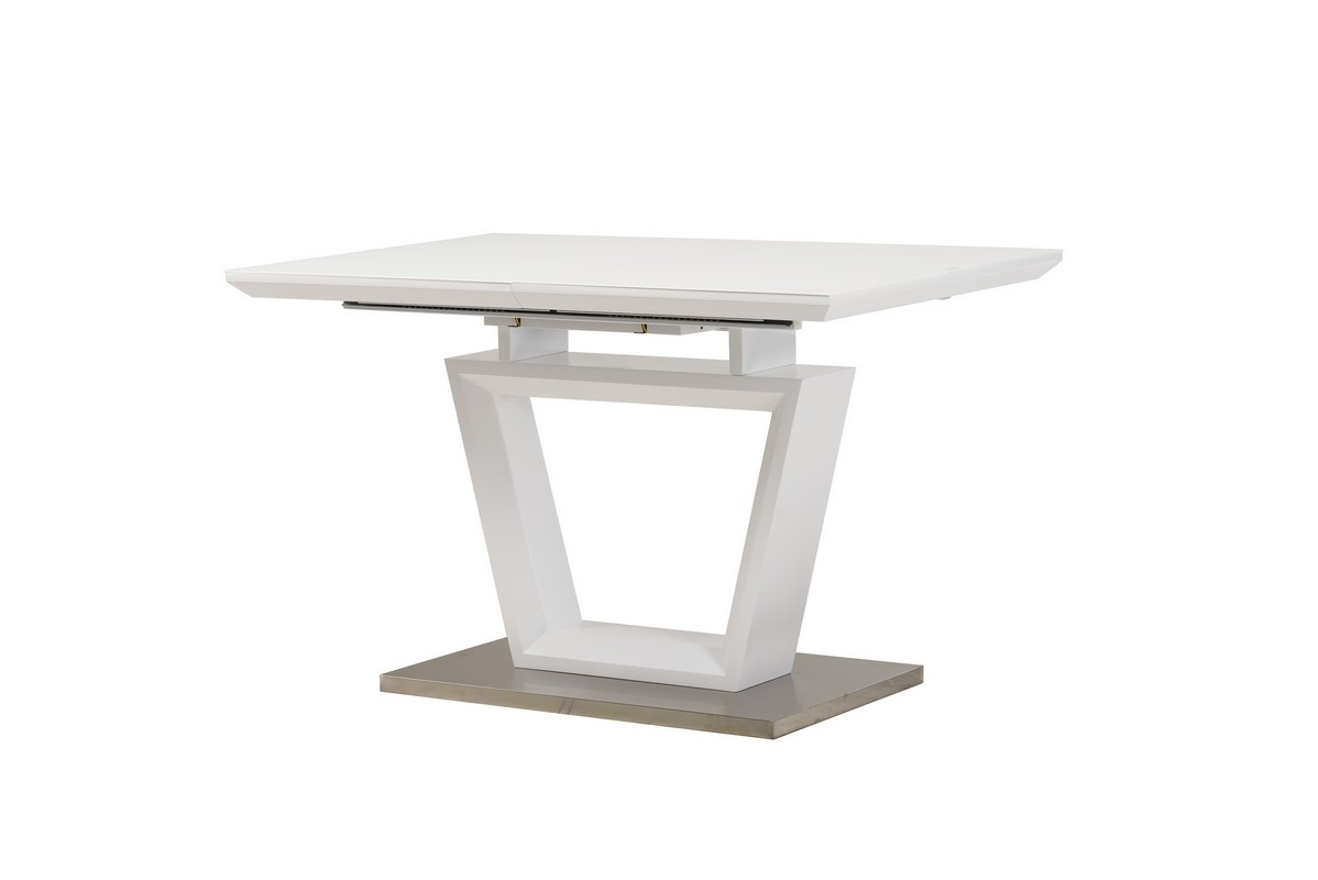 Раздвижной стол ТММ-51-1 матовый белый от Vetro Mebel 120/160