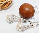 Серебряные сережки с подвесом и жемчугом Кувшинка, фото 3