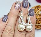 Серебряные сережки с подвесом и жемчугом Кувшинка, фото 4