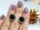 Круглые сережки с ониксом и золотом Джакарта, фото 2