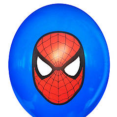 """0329 Шар 12"""" (30 см) Спайдермен / Человек Паук маска на синем (BelBal)"""