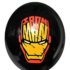 """0328 Шар 12"""" (30 см) Железный Человек маска на черном (Китай)"""
