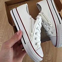 Кеды детские белые конверсы на змейке шнурках кроссовки сетка в стиле converse all star, фото 3