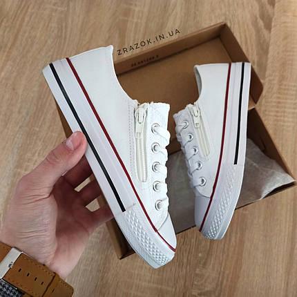 Кеды детские белые конверсы на змейке шнурках кроссовки сетка в стиле converse all star, фото 2