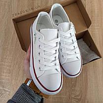 33, 34 розміри Кеди дитячі білі конверси на змійці шнурках кросівки сітка в стилі converse all star, фото 2