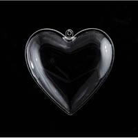 Сердце пластиковое, прозрачное из половин Santi 10 см