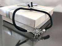Браслет Цветок на черном шнурке, платина