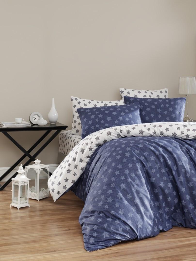 Комплект постельного белья First Choice Ранфорс 200x220 Light Lacivert