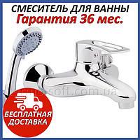 Смеситель для ванной Q-tap Hansberg CRM 006 NEW латунный настенный с душем