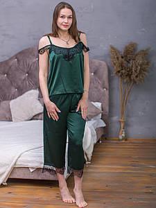 Пижама из шелка Армани Serenade зеленый с черным кружевом