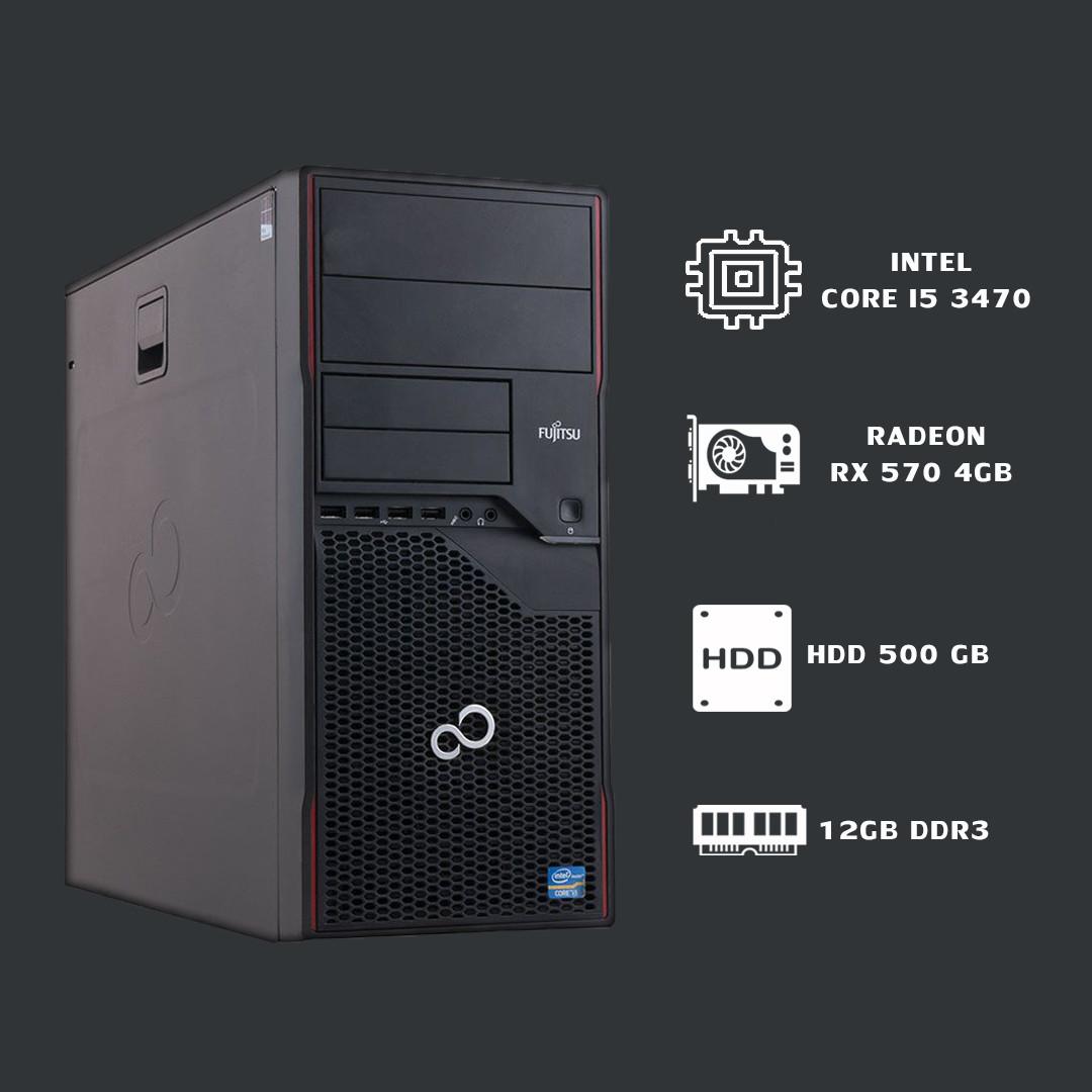 Игровой Компьютер intel core i5 3470+RX 570 4gb+ 12gb ddr3.