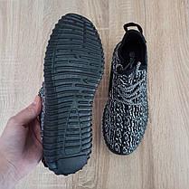 Чорно білі кросівки шкарпетки в стилі Adidas yeezy boost шкарпетки на підошві тканина текстиль сітка, фото 2