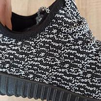 Чорно білі кросівки шкарпетки в стилі Adidas yeezy boost шкарпетки на підошві тканина текстиль сітка, фото 3