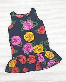 Летнее Платье цветочный принт  для девочки 110,116,122,128 цветы на черном