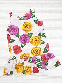 Летнее Платье цветочный принт  для девочки 110,116,122,128 цветы на белом