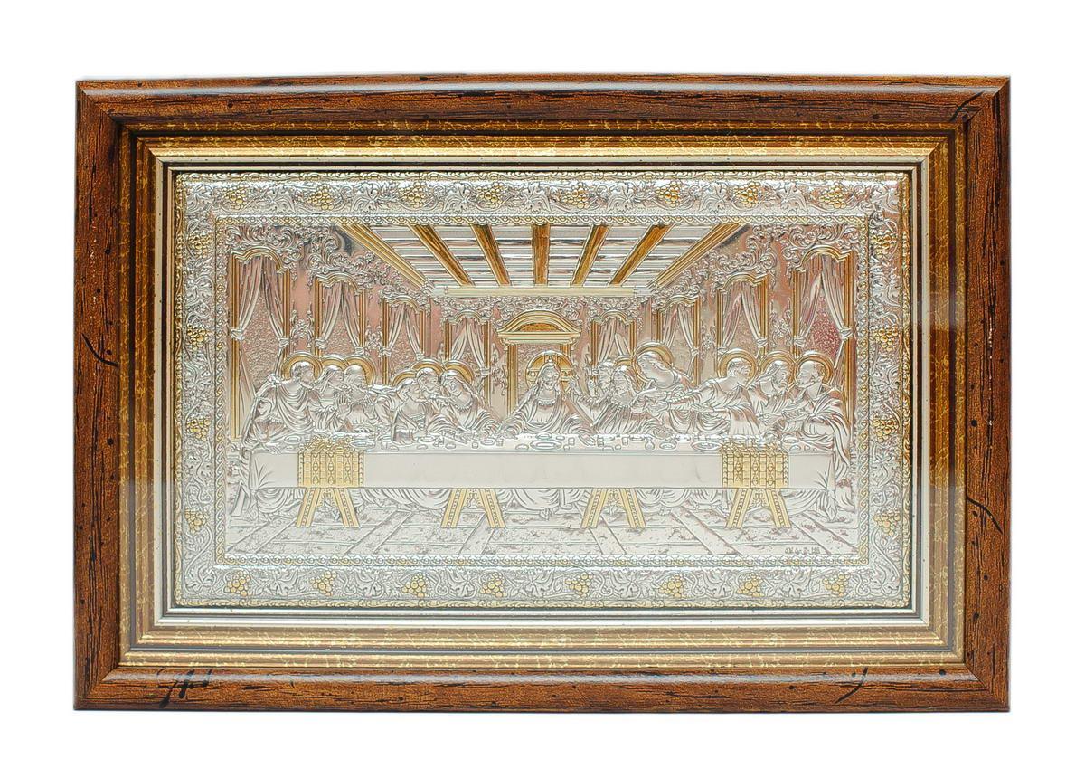 Икона Тайная Вечеря 15,7x23,2см под стеклом в серебряном окладе 925