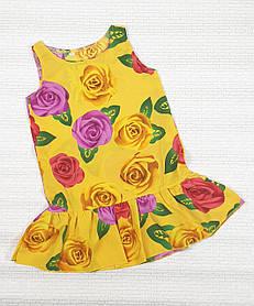 Летнее Платье цветочный принт  для девочки 110,116,122,128 цветы на желтом