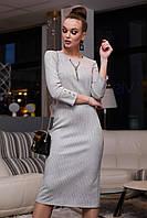 Стильное замшевое платье миди в полоску 1126 (42–48р) в расцветках, фото 8