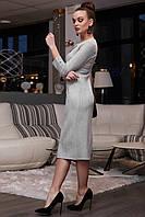 Стильное замшевое платье миди в полоску 1126 (42–48р) в расцветках, фото 10
