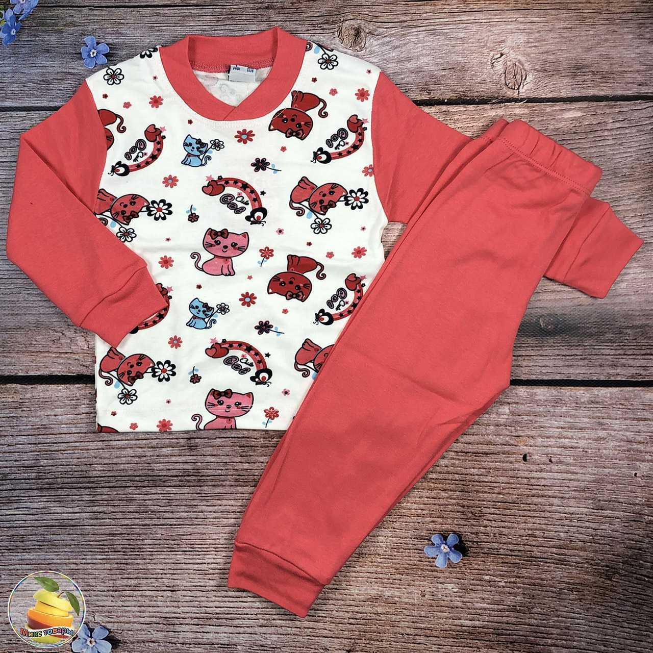 Пижамка с кошечками для маленькой девочки Рост: 86,92,98,104 см (20150)