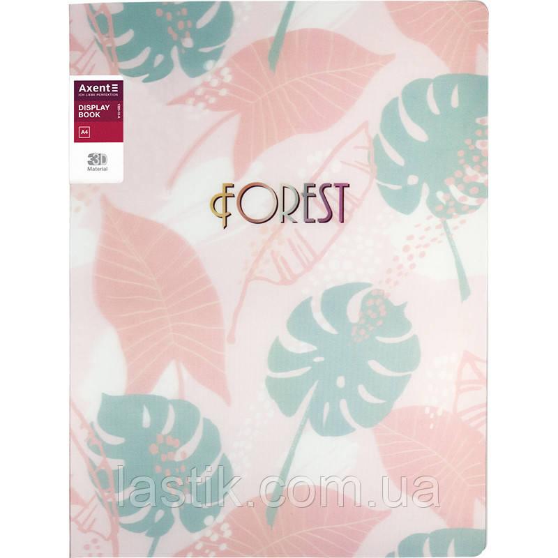 Дисплей-книга 20 файлів, A4 обкладинка 3D пластик (рожевий)