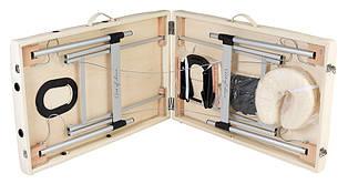 Складной стол для массажа, легкий, ширина 60 см модель MOL,  Массажная кушетка 2 секции, алюминиевое основание