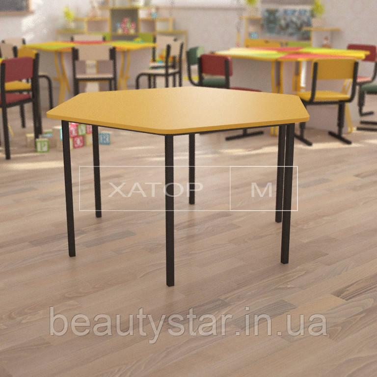 Стол детский шестигранный (цветной, длинна 118 см)