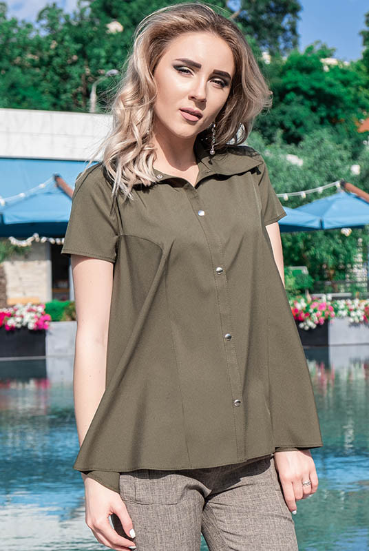 Блузка с коротким рукавом Дора софт хаки