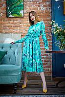 Яркое женское платье с длинным рукавом весна-лето 2020