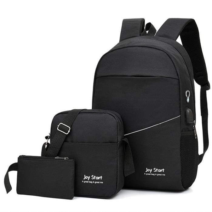 Черный рюкзак городской 3в1 набор 55.98