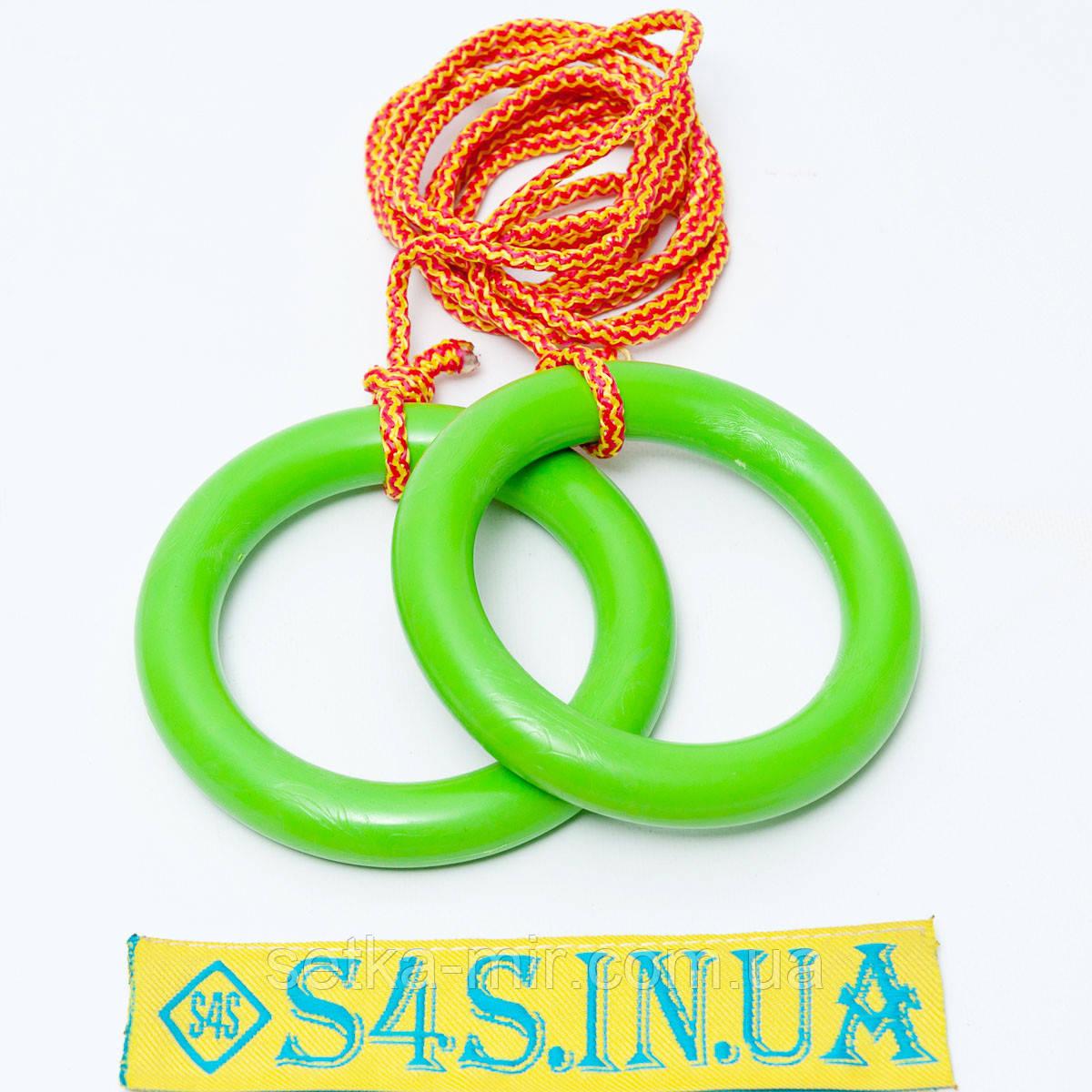 Кольца гимнастические детские подвесные кольца для шведской стенки ПЛАСТИКОВЫЕ салатовые