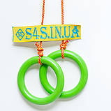 Кольца гимнастические детские подвесные кольца для шведской стенки ПЛАСТИКОВЫЕ салатовые, фото 3