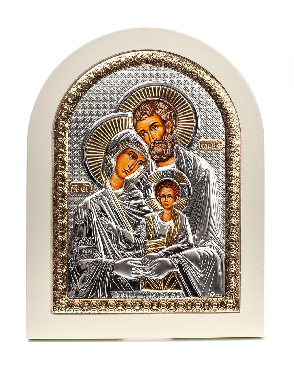Святое Семейство 15х19см на белом дереве  греческая серебряная икона