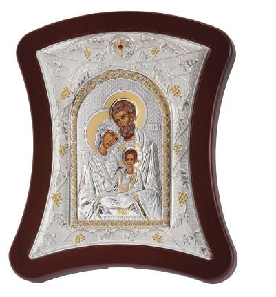 Серебряная Икона Святое Семейство 20х25см выгнутой форме и серебряной рамке