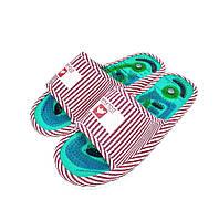 🔝 Домашние массажные тапочки Dolphin Factory женские тапки ортопедические с шипами красно-белые 36-38   🎁%🚚