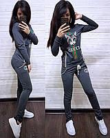 Женский спортивный костюм, костюм для прогулок S/M/L/XL/2XL (темно-серый), фото 1