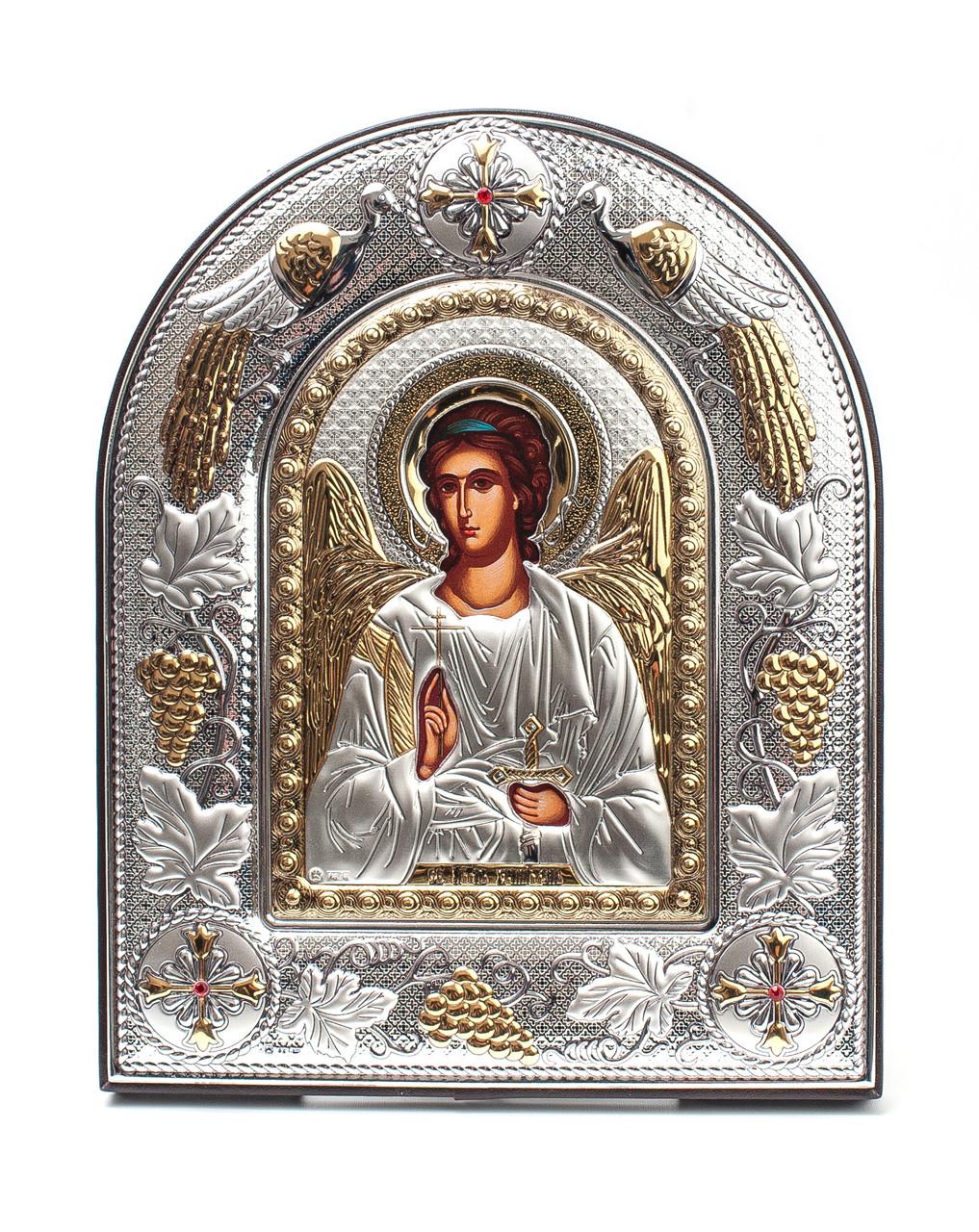 Ангел Хранитель 20х25см Греская серебряная икона в кожаной оправе