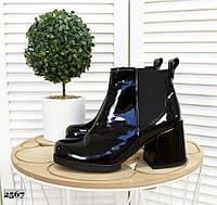Кожаные лаковые ботинки на каблуке 36-40 р чёрный, фото 1