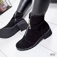 Ботинки женские Sorini черные замша 8723 Зима, фото 1