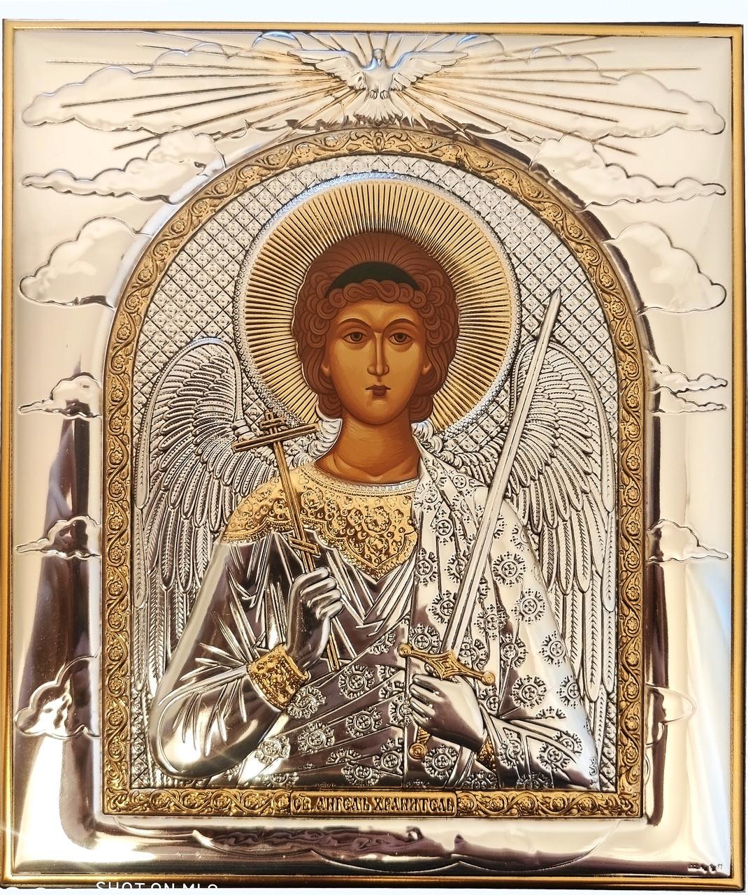 Икона Ангела Хранителя 11,3х13см в серебряняном окладе с позолотой