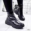 Ботинки женские Jenix черные кожа 8812 зима