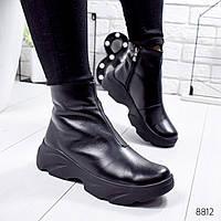 Ботинки женские Jenix черные кожа 8812 зима, фото 1