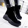 Ботинки женские Vivian черные 8849 замша