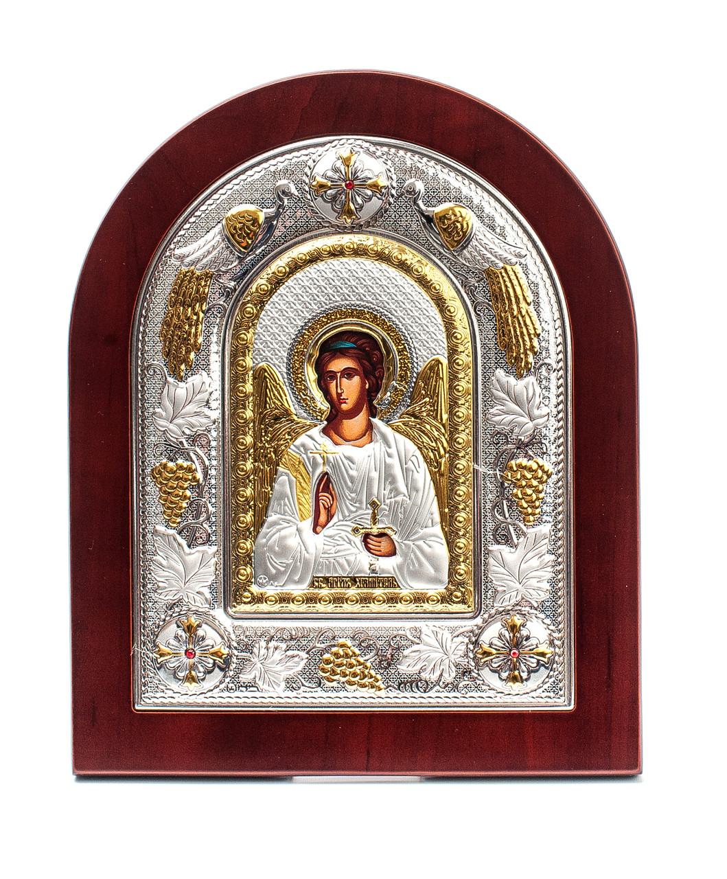 Ангел Хранитель 20х25см греческая икона в серебряной рамке с павлинами