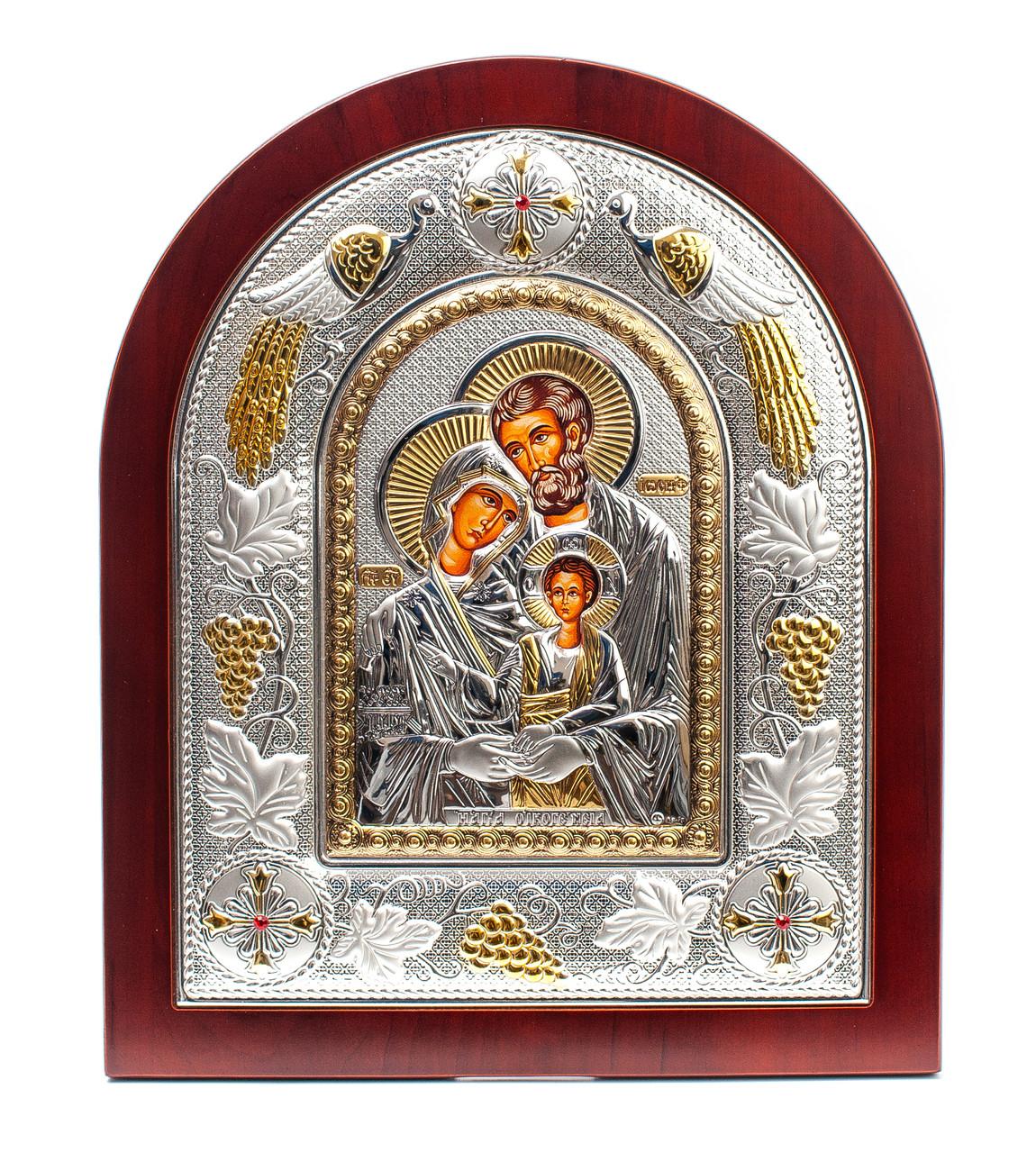 Святая Семья 20х25см греческая икона в серебряной рамке с павлинами