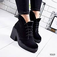 Ботинки женские Tasha черные 9069 замша, фото 1